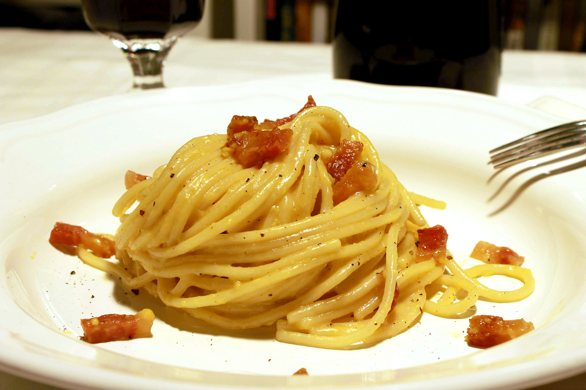 Carbonara pasta (pasta alla carbonara) ~ Main courses Recipes  ~ La ragazza col mattarello